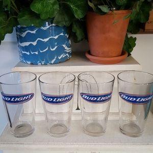 BUD LIGHT Pint Glasses Set of 4